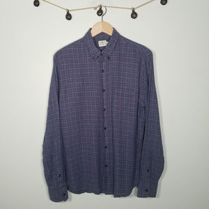Faherty Blue Red Grid Plaid Button Up Flannel XL